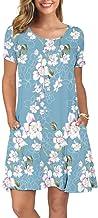 KORSIS Women`s Summer Casual T Shirt Dresses Short Sleeve Swing Dress Pockets