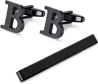HONEY Bear حرف الأولي من أزرار أكمام ربطة عنق مجموعة للرجال هدية سوداء