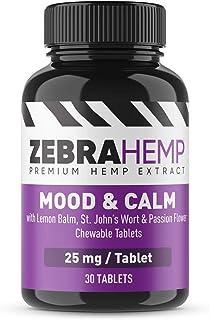 ZEBRA HEMP Mood & Calm Chewable Tablets - Premium Hemp Extract + Natural Discomfort and Stress Relief