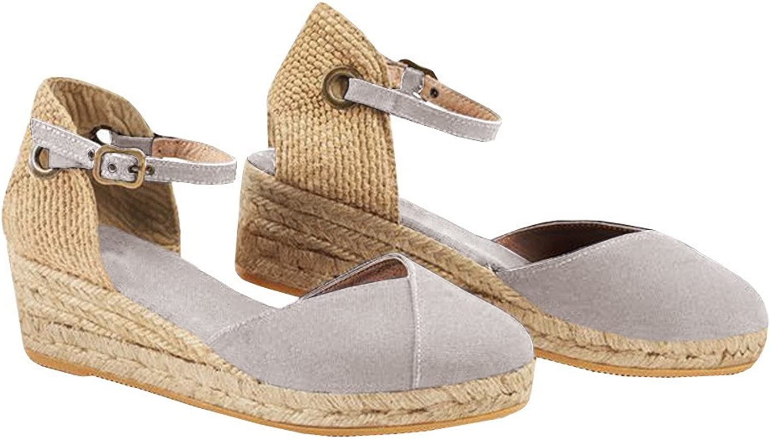 Seraih Womens Wedges shoes Espadrille Canvas Upper Ankle Buckle Braided Sandals shoes