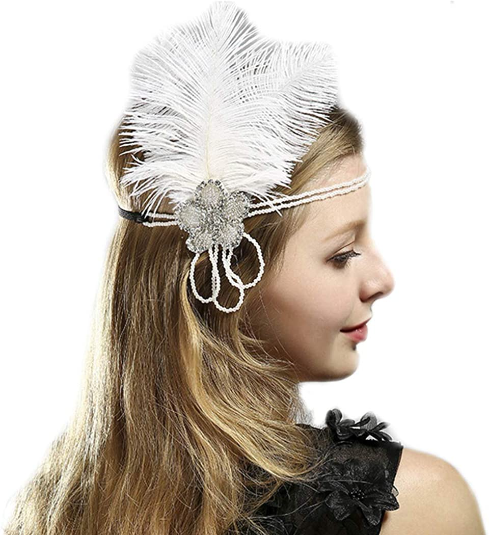 Nicute 1920s Vintage Feather Headband White Crystal Fascinators Headpiece Flapper Hair Accessories for Women and Girls