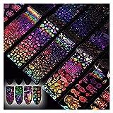 jsobh Pegatinas de uñas 8pcs / Set Gradiente Clavo de la Hoja Geometría Flor de Rose de Transferencia de mármol Clavo del Arte del Bricolaje manicura Decoraciones