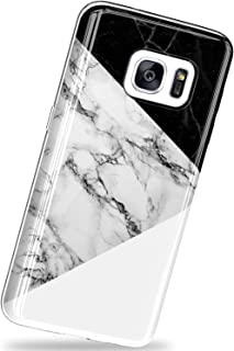 VIVIBIN for Samsung Galaxy S7 Case,Black and White Marble,Scratch Resistant Silicone TPU Cover with Clear Bumper Slim Fit Protective Phone Case for Samsung Galaxy S7 5.1 inch