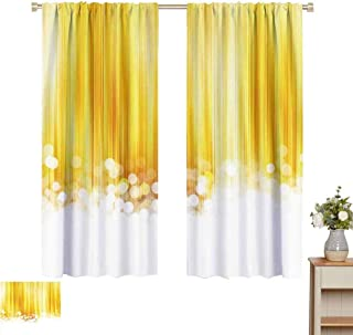 June Gissing Yellow Curtains/Panels/Drapes Gold and White Ombre with Striped Design with Bubble Like Circles Artwork Fashion Darkening Curtains W52 x L63 Yellow and White