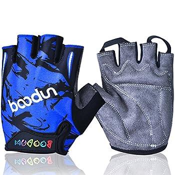 MIFULGOO Boy Girl Child Children Kid Padded Half Finger Fingerless Short Gloves Mitt Mitten for Cycling Exercise Skate Skateboard Roller Skating  Blue XL