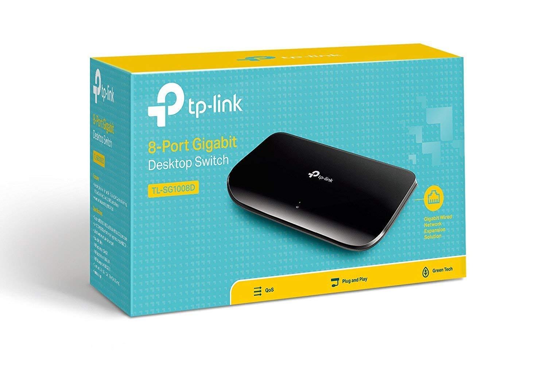 TP-Link 8 Port Gigabit Ethernet Network Switch | Plug and Play | Desktop or Wall-Mount | Plastic Case Ethernet Splitter | Fanless | Traffic Optimization | Unmanaged (TL-SG1008D)
