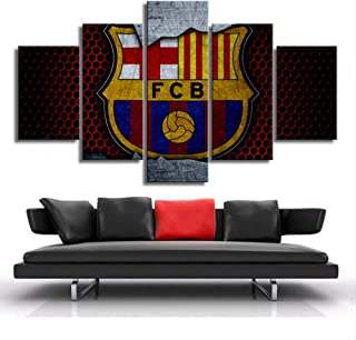 ARTZHUA Wall Art 5 Pieces Canvas Paintings American Football Barcelona Football Club Flag Logo Posters HD 5 Pieces Canvas Paintings Wall Art Prints Pictures Boys Sports Bedroom Decor Frame