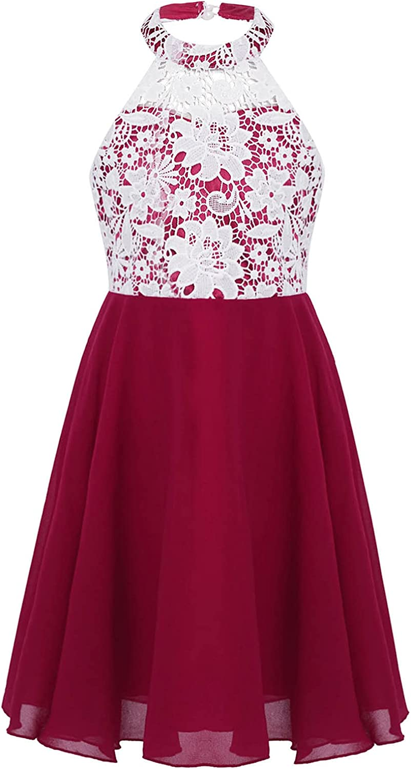 JEEYJOO Kids Flower Girls Sleeveless Halter Neck Floral Lace Wedding Pageant Party Dress