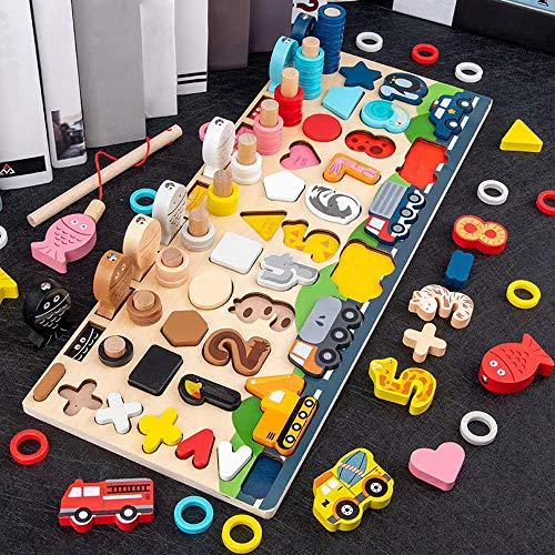Arkmiido Montessori Puzzle in Legno con Numeri, Gioco Magnetico di Pesca per Bambini Numero matematico Colore Forma Ordinamento Tavolo impilabile, Giocattolo di apprendimento prescolare, Oltre 3 Anni
