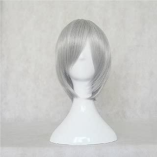BLEACH Ichimaru Gin Sliver Grey Short Cosplay Costume Wig + Free Wig Cap