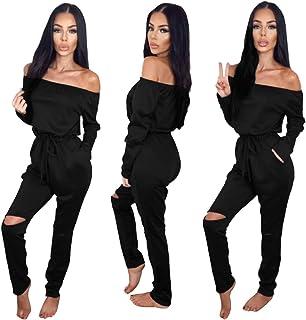 Longwu Women's Fashion Off-Shoulder Drawstring Jumpsuits...