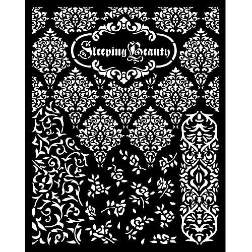 Stamperia International Thick Stencil-Sleeping Beauty Plantilla Gruesa – Texturas de Belleza Durmiente, Varios, 20 x 25 cm