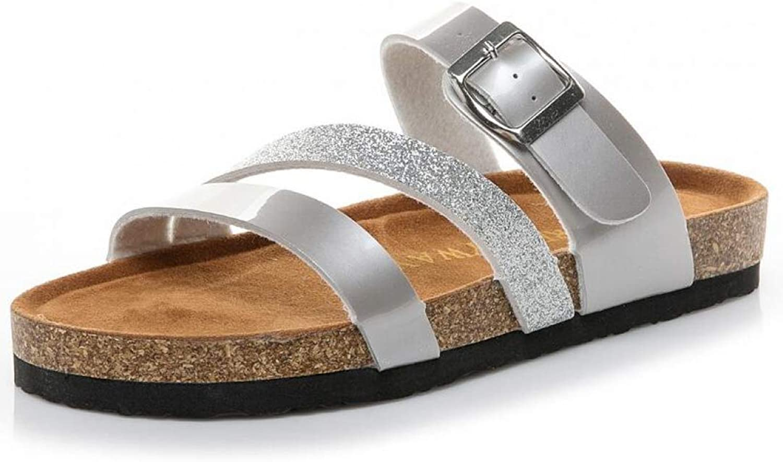 JOYBI Women Casual Flat Slippers Sandals Slip On Glitter Summer Cork Comfort Open Toe Buckle Belt Beach Clogs
