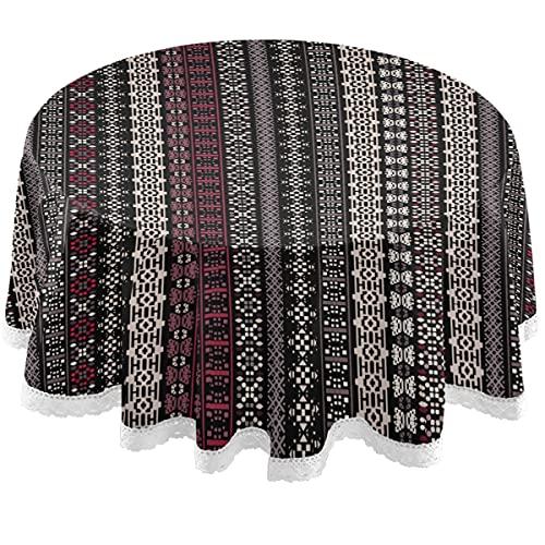 Oarencol Mantel redondo de rayas bohemias de 152 cm, de poliéster, lavable, para mesa de bufé, fiesta, picnic, diseño vintage