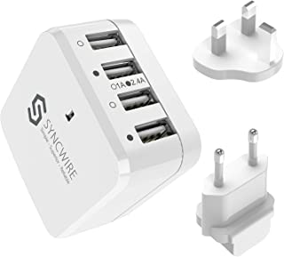 Syncwire 34W 4-Port USB Wall Charger, Multi-Port [Foldable US Plug] Travel Power Adapter with Interchangeable UK/EU Plug for Apple iPhone, iPad, Samsung, Android Phones, Tablets & More