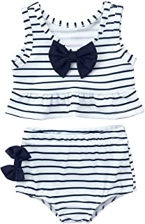 Haitryli 2PCS Kids Girls Sleeveless Striped Bowknot Peplum Tankini Swimwear Bathing Suit Set Tops with Bottoms