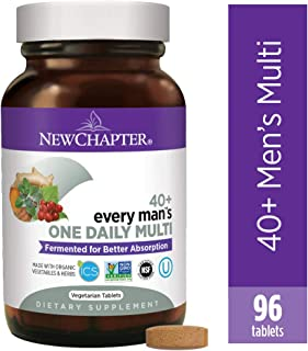 New Chapter Men's Multivitamin, Every Man's One Daily 40+, Fermented with Probiotics + Saw Palmetto + B Vitamins + Vitamin D3 + Organic Non-GMO Ingredients, 96 Count