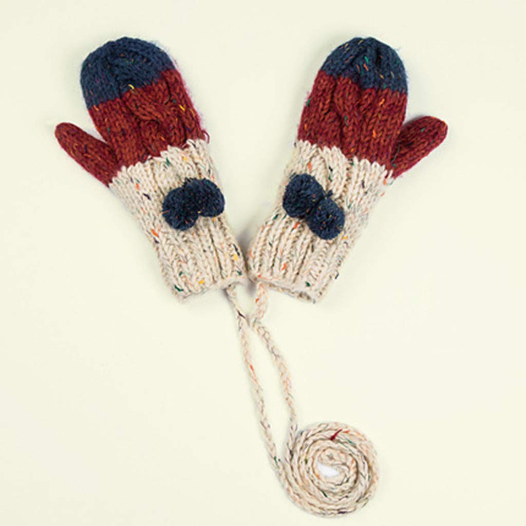 Atezch Winter Gloves Warm Lining - Cozy Knit Full Finger Mittens, Thick Portable Gloves with String