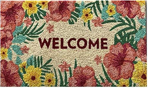 Felpudo de coco con base de PVC pintado a mano Flores de Verano Welcome 40x70 cm