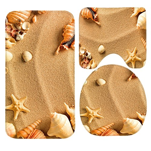 R-ANSXYX Toilet Set Beach Sea Shell Sand 3 Piece Bathroom Set Mat Rug Non-Slip Contour Rug Toilet Lid Cover and Bath Mat