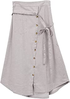 Womens Linen Button Front Maxi Skirts with Pockets Elastic Waist A Line Irregular Overalls Skirt High Low Hem