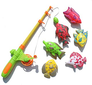 Anniston Kids Toys, 7Pcs Magnetic Fishing Rod Fish Models Catching Game Interactive Kids Bath Toy Pretend Play for Baby Ch...
