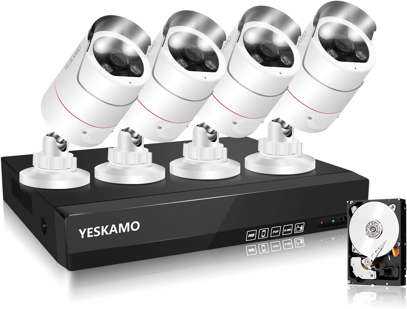 Al sold out. YESKAMO PoE Outdoor Home Security Camera System Floodligh Wired quality assurance