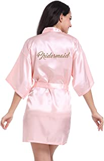 Kimono Satin Robes for Bride and Bridesmaid Wedding Party Getting Ready Robes with Gold Glitter