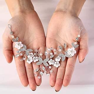 Asooll Silver Wedding Flower Headband Birde Crystal Headpiece Bridal Hair Vine Clip Accessories for Women and Kids Silver