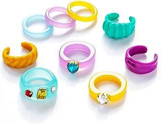 Senteria 9-16Pcs Resin Rings for Women Colorful Acrylic Rings Trendy Diamond Rings Index Finger Rings Cute Open Enameled C...