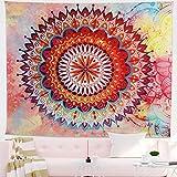 Tapiz de mandala indio para colgar en la pared tapiz psicodélico bohemio colorido tapiz hippie misterioso y estético para dormitorio sala de estar decoración de pared tapiz artístico(Rojo)(L)