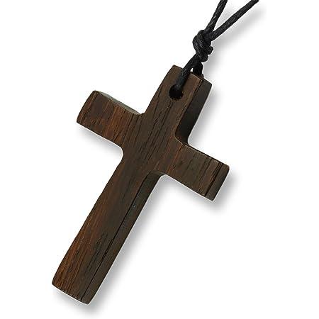 Island piercings colgante de collar de Cruz de madera hecho a mano longitud ajustable N238