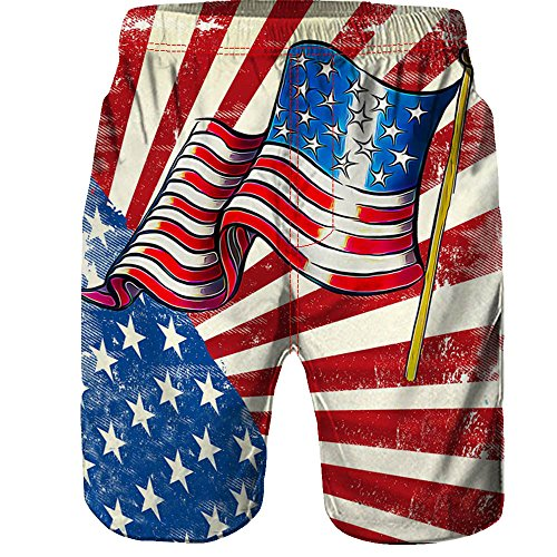 FRAUIT Herren Männer Badehose 3D Printed Kurze Hose Amerikanische Flagge Badeshorts Camouflage Strand Arbeit Casual Männer Kurze Hosen Shorts Regular Fit Outdoorhose Freizeithose