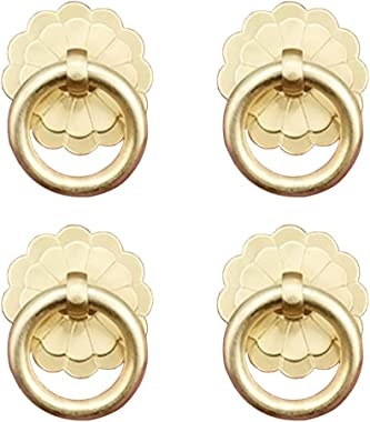 Tiazza 4Pcs Antique Brass Ring Pulls Handle Kitchen Cabinets Wardrobe Drawer Vintage Furniture Hardware Vintage Style Pull Ri