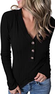 Women's Long Sleeve V Neck Ribbed Button Knit Sweater Solid Color Tops