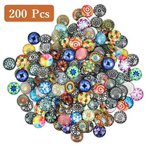 YANSHON 200 Stück Bedrucktes Glas, Halbrund Kuppel, 16x5mm Glascabochons, Mosaik Gedruckt Glas, Runde Glasmosaik Fliesen, Mixed Mosaik Glas für DIY Handwerk, Schmuckherstellung