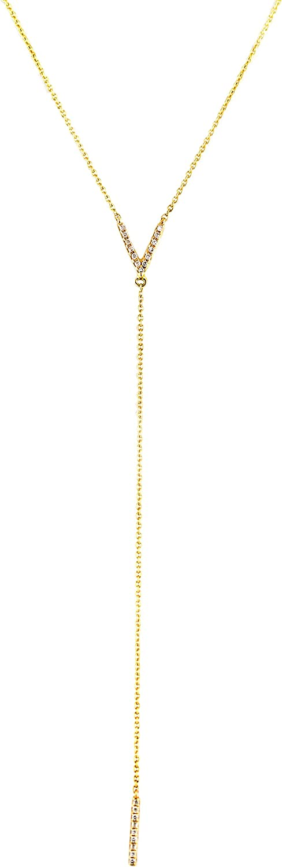 UltimateChoice 0.07ct Pavé Diamonds in 14kt Gold Letter V & Bar Drop Lariat Necklace