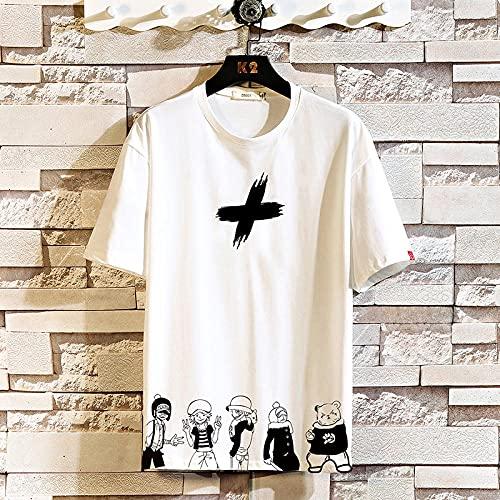 Camiseta De Manga Corta T-Shirt Camiseta De Manga Corta para Hombre Camiseta Blanca Negra De Verano Camisetas Superiores Ropa De Moda Estampado De Gran Tamaño-T1085_B_M_For_155_Cm_55Kg