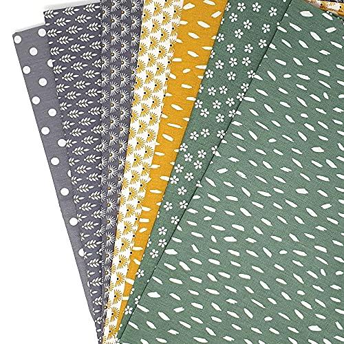 Sugarapple Stoffpaket Baumwolle, Stoffpaket Kinder | Patchwork Stoffe Paket, Stoffe zum Nähen 7 Stück 50 x70 cm | 60 °C Wäsche, Öko Tex Standard 100 | gesamt 3,5 m x 70 cm | Mix Grün+Grau+Senf Gelb