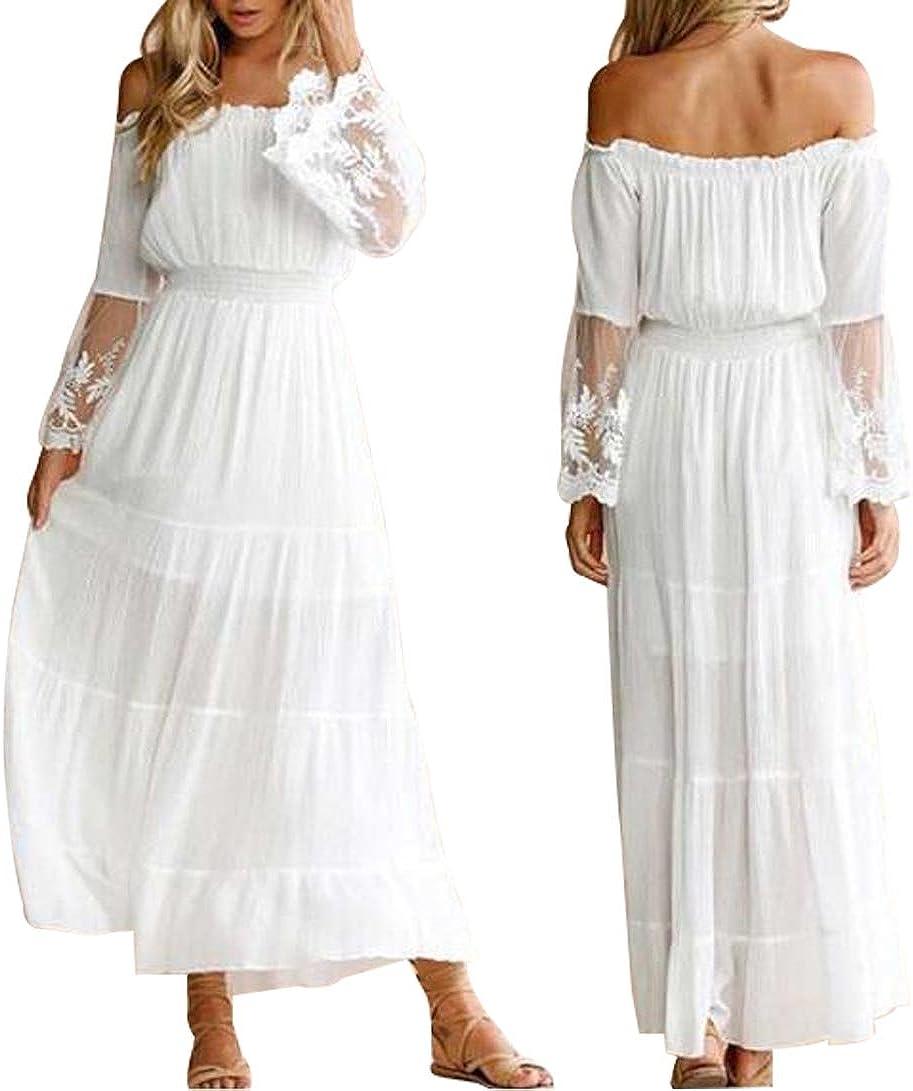Off Shoulder Dress Women White Lace Patchwork Chiffon Dress Polka Dots Cocktail Party Wedding Dress