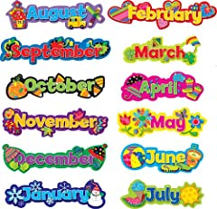 """Pieces range from 15""""-20"""" x 5""""-51/4"""" Coordinates with Popping' Patterns products Includes 12 month headlines featuring seasonal/holiday icons. Multicolor"""
