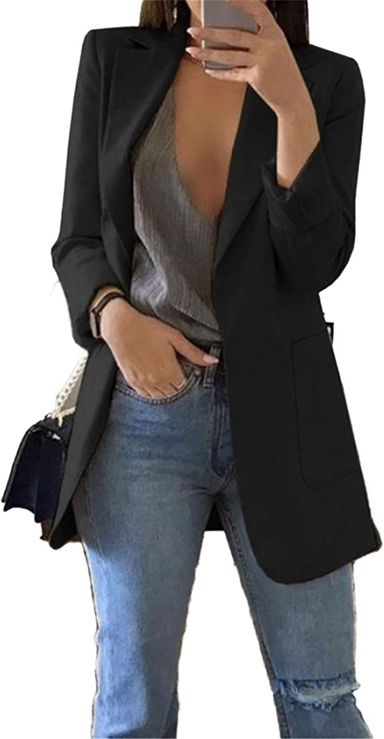 Andongnywell Womens Long Sleeve Casual Open Front Suit Jackets Solid Boyfriend Blazer with Pockets Overcoats Outwears