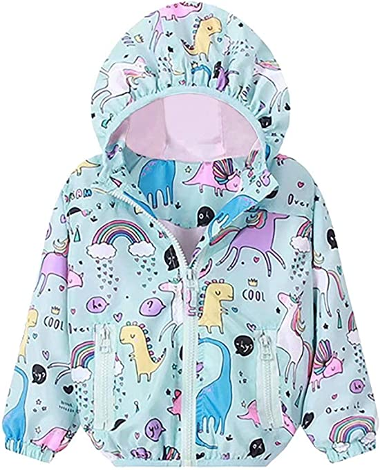 JELLYKIDS Toddler Boy Girl Long Sleeve Unicorn Dinosaur Rainbow Zipper Hoodie Raincoat Jacket Windbreaker