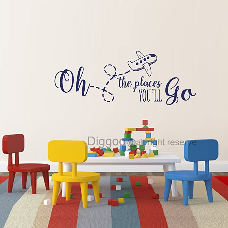 Diggoo Oh The Places You Ll Go Children Wall Art Airplane Wall Quote Travel Nursery Decor Dark Blue 19 H X 50 W