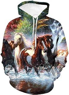 Pets IMAGE Felpa Cappuccio Unisex I Love My Horse Amo Il Mio Cavallo
