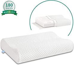 Ergonomic Memory Foam Pillow with Washable Zippered Soft Cover Contour Cervical pillows for Neck Pain and Side Sleeper Back Support Orthopedic Pillow, White