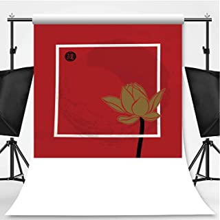 Hand Drawn Vector Background with Summer Flowers Lotus on red Photography Background,042199 for Television,Flannelette:5x7ft