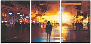 wall26 - 3 Piece Canvas Wall Art - Man Standing on Street Looking at Futuristic City at Night, Sci-Fi Concept - Modern Home Decor Stretched and Framed Ready to Hang - 16