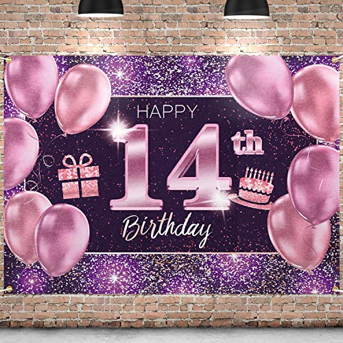 PAKBOOM Happy 14th Birthday Banner Backdrop - 14 Birthday Party Decorations Supplies for Girl - Pink Purple Gold 4 x 6ft