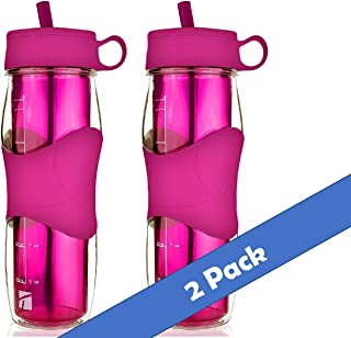Trudeau Plastic Water Bottle 16 oz, BPA Free Tritan Hard Materials, with Flexible Silicone Straw, Cold Drinking Portable Perfect for Outdoor Bicycle & Camping & Gym- Pink